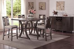 This stylish contemporary design will add a measure of rustic urban appeal to your dining spaces. Its durable upholstery lends to the collection's durability.