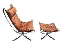Sigurd Ressel Chrome Falcon Chair and Ottoman