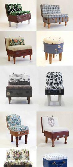 Créateur d'Afrique du Sud Katie Thompson avec une vieille valise dans un fauteuil.