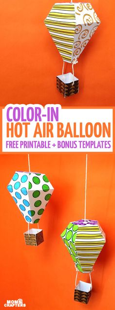 Download this free printable hot air balloon mobile template to color in, craft, and decorate with! This beautiful hot air balloon coloring page and paper craft is perfect to make playroom decor or to hang in a gender-neutral nursery