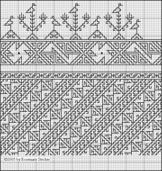 Very wide diagonal band with bird and branch border. - Silk on linen, Egypt, 14th C. Trilling, Aegean Crossroads, p. 24, fig. 7. -  Chart for Double Running Stitch Embroidery