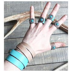 """1 Likes, 1 Comments - Sweet Creek Leather (@sweetcreekleather) on Instagram: """"Turquoise Concho Leather Rings for days! ✨Sign-up for our newsletter and get 10% off your next…"""""""