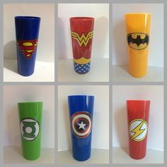 Copos super-heróis Avengers Birthday, Superhero Birthday Party, 6th Birthday Parties, Large Wall Stickers, Avengers Coloring, Avenger Cake, Batman Party, Bottle Crafts, Party Cakes