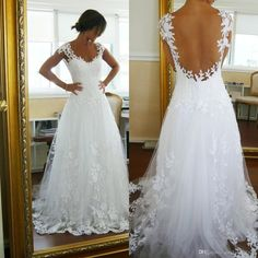 Wholesale A Line Wedding Dresses - Buy Sheer A-Line Wedding Dresses Cheap Tulle Wedding Dress Sheer Back Scoop Neck Bridal Gowns With Appliques Floor Length Plus Size Best Selling, $124.4   DHgate