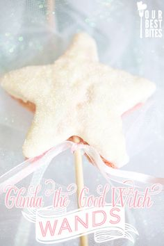 Glinda the Good Witch Wands (Or any fairy/princess wand). Rice Krispies, glittery icing and a stick!