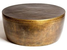 """Izmir Hammered Brass Transitional Cocktail Table by Studio A (STA-7-90162), 35""""dia 15""""h, $1747"""
