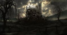 Haunted house by atomiccircus digital art drawings fantasy 2012 2013