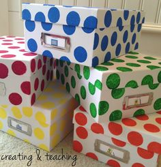 Close Mannon Boxes for writing center organization Classroom Projects, Classroom Themes, Diy Craft Projects, Writing Center Organization, Classroom Organization, Classroom Management, Polka Dot Theme, Polka Dots, Polka Dot Classroom