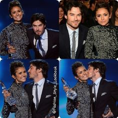 DONT FRET GURLS THEY ARENT BACK TOGETHEREven though i want them to #ninadobrev #iansomerhalder #elenagilbert #vampire #paulwesley #stefansalvatore #kiss #po #love #peck #lovebites #award #peopleschoice #stage #breakup #smile #damonsalvatore #brother #omg #handsome #guy #wtf #awesome #cool #metallic #fashion #stylish #lookbook #style... - Celebrity Fashion
