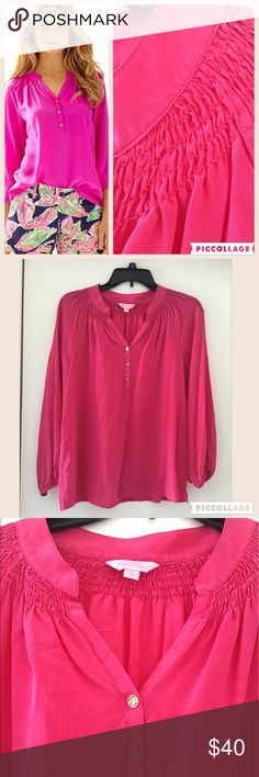 Lilly Pulitzer Elsa Top in Azalea Pink Worth It NWOT, never worn.Get ready for a style epiphany: this silk blouse is the secret workhorse of your closet. You can wear the Elsa Top - Worth It tucked in or worn out, sleeves pushed up or blissfully long, styled with a belt over leggings, peeking out from under a blazer, draped over the top of a pencil skirt...Elsa is one shirt with an endless number of looks year-round. .  Loose Fitting Long Sleeve Blouse With Smocking At The Neck. Silk CDC…