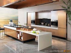 Customized Metal Foil Kitchen Cabinet OP14-067