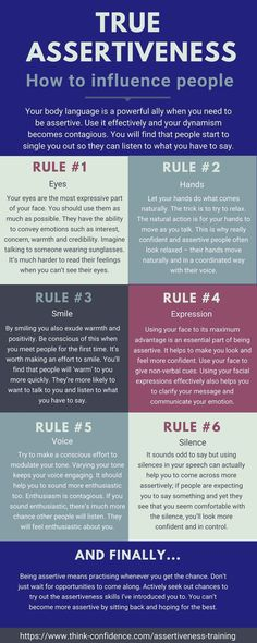 How to be more assertive. 6 key rules. Click infographic to learn the best ways to get people to listen to you and come across more confidently and assertively. #assertive #assertiveness #infographic #tips #techniques