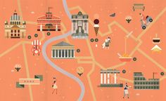 Illustrated map of Rome for Ethiopian Airlines' magazine by Lotta Nieminen — Agent Pekka Travel Icon, Travel Maps, Travel Posters, Mandala Compass, Lotta Nieminen, Rome Map, Maps For Kids, Map Design, Graphic Design