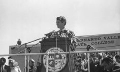 March 1968, Senator and presidential candidate Robert F. Kennedy  spoke at San Fernando Valley State College, now known as CSUN. Kennedy and Senator Eugene McCarthy drew a record crowd of over 12,000 people.