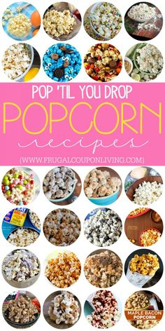Pop until you drop with these fantastic and yummy popcorn recipes on Frugal Coupon Living. Sweet, Savory, Salty, and more. #popcorn #popcornrecipes #recipes #popcornideas #popcornrecipe