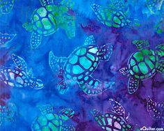 Totally Tropical - Sea Turtle Batik - Sapphire
