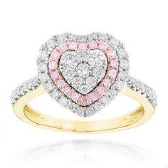 Diamantring Herz Pavee mit 1.00 Karat Diamanten aus 585er Gelbgold. Ein Diamantring von www.juwelierhausabt.de