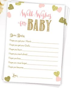 Excited to share the latest addition to my #etsy shop: Well Wishes for Baby . Dear Baby Advice Card . Pink and Gold Baby Shower Printable . Instant Download . Baby Girl Shower . Baby Shower Games
