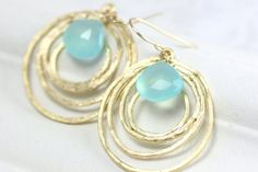 Aqua Chalcedony Gold Earrings - Silver Circles - Simple Modern Jewelry - Customize Gemstones
