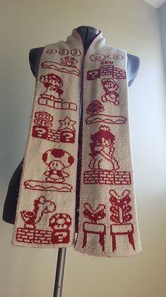 Ravelry: Super Mario Bros Scarf pattern by Tess Campbell Hama Beads Minecraft, Perler Beads, Double Knitting Patterns, Knit Patterns, Crocheting Patterns, Knitting Blogs, Knitting Projects, Knitting Charts, Free Knitting