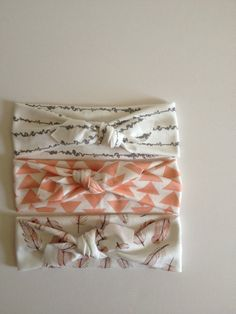 The Amelia Collection-Set of 3 Organic Knotted Headbands - Grey, Coral, Feathers