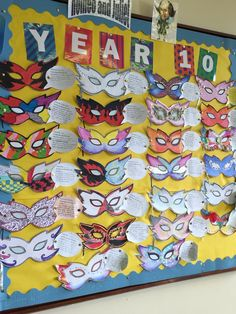 Pupils choose a character and create their mask for the ball. Must justify colour choices! I need this to happen in my life. Classroom Displays Secondary English, Secondary Teacher, Middle School Ela, High School, Teaching Shapes, Class Displays, Teaching English, English Teachers, Class Decoration