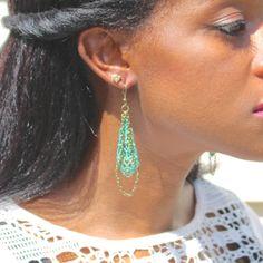 Teal Vintage Style Filigree Dangle Earrings       by KrashaunArts $18.00 https://www.etsy.com/shop/KrashaunArts
