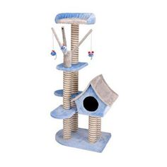 Penn Plax Deluxe 50 in. Cat Cottage with Lounging Tower in Blue/Gray - CATF1