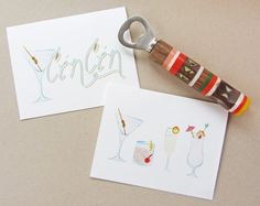 Cheers Greeting Cards set of 6 by StripedCatStudio on Etsy, $20.00