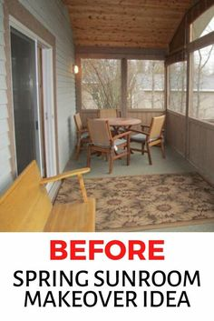 Decorating on a budget? check out the before and after photos of this sunroom remodel for some inspiration. The bold color scheme for trimmings instantly updates this old looking space. Sunroom Decorating, Budget Home Decorating, Diy Home Decor, Diy Decorating, Small Sunroom, Sunroom Diy, Sunroom Ideas, Bedroom Decor On A Budget, Minimalist Kitchen