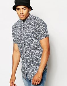 New Look Short Sleeve Shirt with Diamond Floral Print