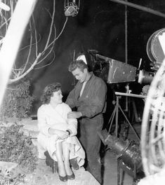 """""""Natalie Wood and James Dean during the filming of Rebel Without a Cause in """" Hollywood Actor, Golden Age Of Hollywood, Hollywood Actresses, Classic Hollywood, James Dean Photos, Rebel Without A Cause, He Makes Me Happy, Jimmy Dean, East Of Eden"""