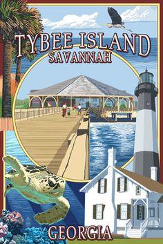Tybee Island - Savannah, Georgia - Montage - Lantern Press Poster