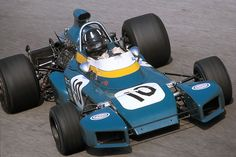 Graham Hill in the wingless Brabham at the high speed circuit of Monza 1971