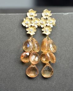 Bridesmaid Jewelry Bridesmaid Wedding Bridal Jewelry -Bridesmaid gifts, Peach, Ivory and Gold , champagne peach earrings ,hydrangea flower on Etsy, $49.99