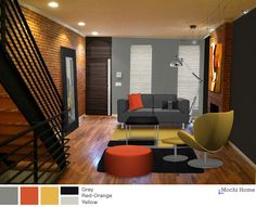 Exposed brick and a black accent wall - doesn't get any cooler than this! Virtual makeover from Mochi Home