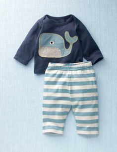 whale applique and striped pants ...LOVE