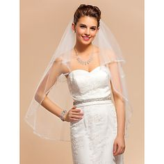 Two-tier+Elbow+Wedding+Veil+With+Applique+Edge+–+USD+$+24.99