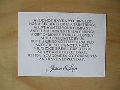 Wedding Money Request Poem Cards in Home, Furniture & DIY, Wedding Supplies, Cards & Invitations | eBay
