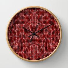 Pattern red Wool Wall Clock by Christine baessler - $30.00