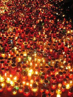 Poland and Lithuania's All Saints' and All Souls' Day are much different than Halloween, though they share a similar time on the annual calendar. Catholic Saints, Roman Catholic, Polish Holidays, All Souls Day, Poland Travel, Italy Travel, All Saints Day, Kirchen, Hallows Eve