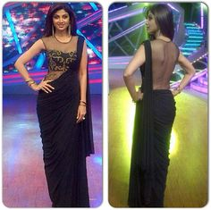 Shilpa looks stunning in yet another headturner black and gold sheer back number by Sonaakshi Raaj for the Semi-Finals of Nach Baliye. Jacqueline Fernandez, Indian Dresses, Indian Outfits, Indian Clothes, Saris, India Fashion, Asian Fashion, Plain Chiffon Saree, Indiana