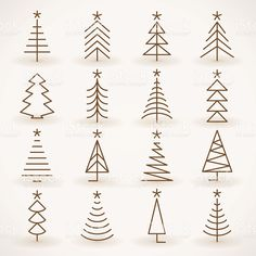 christmas tree drawing Abstract silhouette Christmas tree icons set on grey background - Christmas Tree Collection, Christmas Tree Set, Christmas Wood, Christmas Crafts, Christmas Decorations, Christmas Ornaments, Diy Weihnachten, Christmas Doodles, Christmas Decorating Ideas