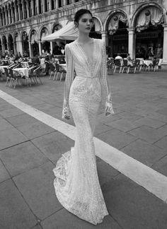 INBAL DROR BR-15-15 Beaded long sleeved column dress