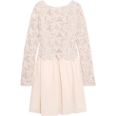 See by Chloé Guipure lace and cotton mini dress (€360) ❤ liked on Polyvore featuring dresses, pastel pink, short cotton dress, lacy dress, lace dress, pastel pink dress and slip on dress