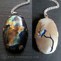 Kingfisher Labradorite Pendant - Handcut sterling silver and labradorite - Spirit Animal Series