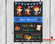 Pirate Invitation, Pirate Birthday Invitation, Pirate Party Invitation, Pirate Party Invite, Boy Birthday, Party Printables