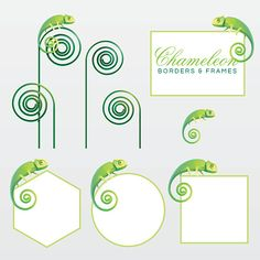 Geometric green chameleon lizard page decoration borders and frames vector art illustration