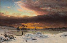 Fanny Churberg (Finnish, 1845 - Winter landscape, evening (via Finnish National Gallery) August Sander, Albert Bierstadt, Klimt, Seascape Paintings, Landscape Paintings, Landscape Art, Charles Angrand, Jules Cheret, Maurer
