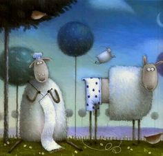 Russel, le mouton by Rob Scotton Knitting Quotes, Knitting Humor, Knitting Yarn, Splat Le Chat, Sheep Art, Art Populaire, Knit Art, Children's Book Illustration, Whimsical Art